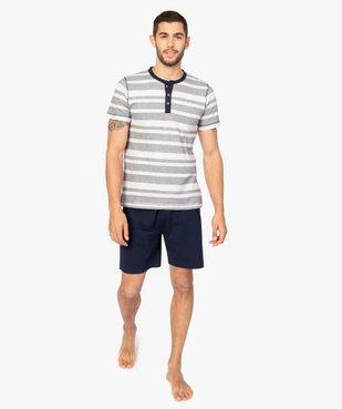 Pyjashort pour homme avec haut rayé et bas uni vue1 - GEMO(HOMWR HOM) - GEMO