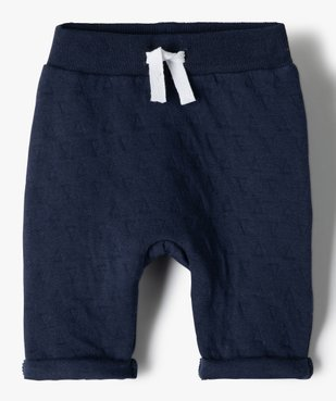 Pantalon bébé garçon en maille effet matelassé vue1 - GEMO(BB COUCHE) - GEMO