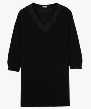Robe femme en maille fantaisie et col V en dentelle vue4 - GEMO (G TAILLE) - GEMO