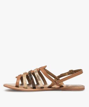 Sandales femme à talon plat et brides multiples en cuir vue3 - GEMO (CASUAL) - GEMO