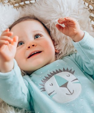 Pyjama bébé en velours à pont-dos pressionné vue7 - GEMO C4G BEBE - GEMO