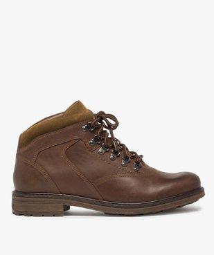 Boots homme avec dessus cuir lisse et lacets montagne vue1 - GEMO (CASUAL) - GEMO