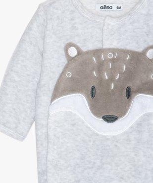 Pyjama bébé en velours motif renard vue2 - GEMO(BEBE DEBT) - GEMO