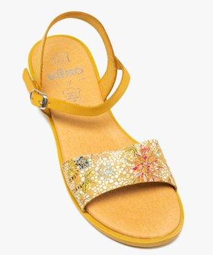 Sandales femme à talon plat dessus en cuir imprimé vue5 - GEMO (CASUAL) - GEMO