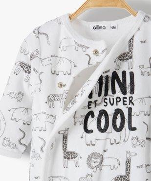 Pyjama bébé garçon en velours avec motifs animaux et inscription vue2 - GEMO(BB COUCHE) - GEMO