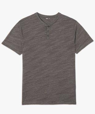 Tee-shirt homme chiné à manches courtes et col tunisien  Matière chinée vue4 - GEMO C4G HOMME - GEMO
