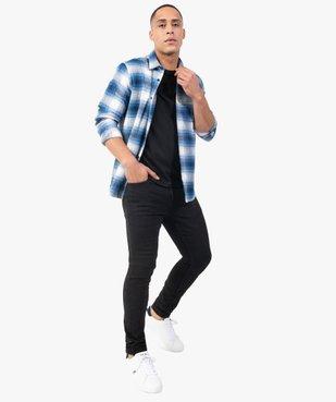 Chemise homme à carreaux et manches longues en flanelle vue6 - GEMO (HOMME) - GEMO