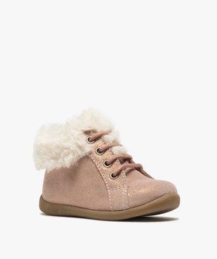 Chaussures premiers pas bébé fille en cuir à col fourré vue2 - Nikesneakers(BEBE DEBT) - Nikesneakers