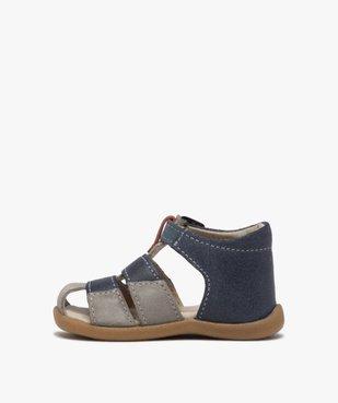 Sandales premiers pas bébé garçon en cuir vue3 - GEMO(BEBE DEBT) - GEMO
