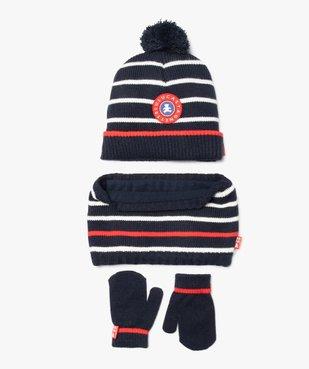 Ensemble bébé garçon 3 pièces : bonnet + snood + moufles rayés - Lulu Castagnette vue1 - LULUCASTAGNETTE - GEMO