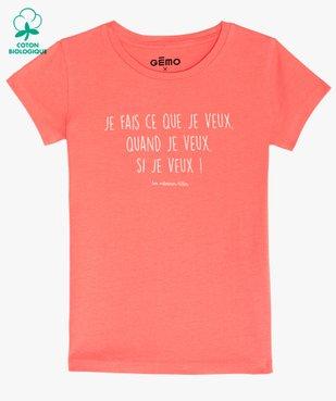 Tee-shirt fille à message pailleté - GEMO x Les Vilaines filles vue1 - VILAINES FILLES - GEMO