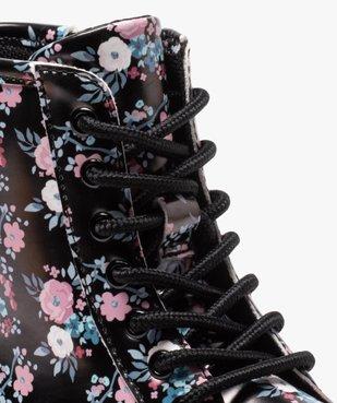 Boots fille à lacets et zip imprimées fleurs vue6 - GEMO (ENFANT) - GEMO