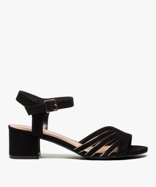 Sandales femme en suédine à petit talon carré vue1 - GEMO(URBAIN) - GEMO