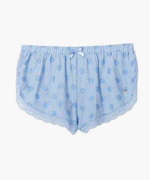 Bas de pyjama femme coupe short à pois et dentelle - LuluCastagnette vue4 - LULUCASTAGNETTE - GEMO