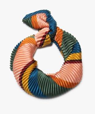 Foulard femme multicolores en matière gaufrée vue2 - Nikesneakers (ACCESS) - Nikesneakers