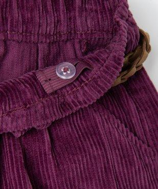 Short fille en velours grosses côtes et ceinture pailletée vue3 - GEMO (ENFANT) - GEMO