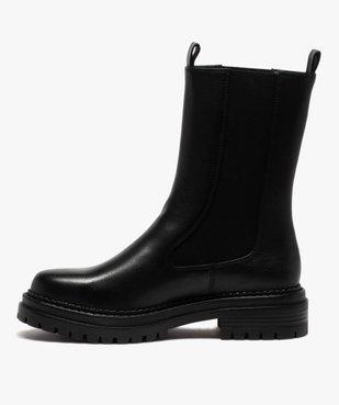 Boots femme unies style chelsea à semelle épaisse et crantée vue3 - GEMO (CASUAL) - GEMO