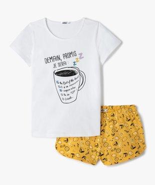 Pyjashort fille imprimé avec motif mug vue1 - GEMO (JUNIOR) - GEMO