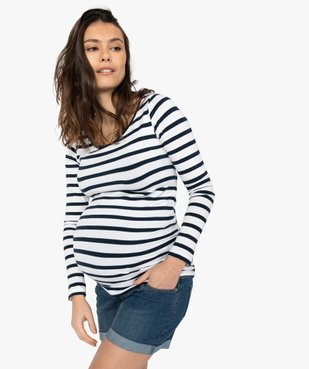 Tee-shirt de grossesse rayé à manches longues vue1 - Nikesneakers C4G MATERN - Nikesneakers