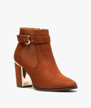 Boots femme à talon unis en suédine détails métallisés vue2 - Nikesneakers(URBAIN) - Nikesneakers