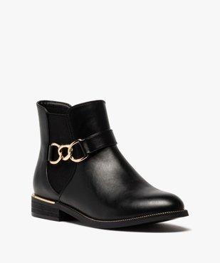 Boots femme unis à talon plat et chaine métallique vue2 - GEMO (CASUAL) - GEMO