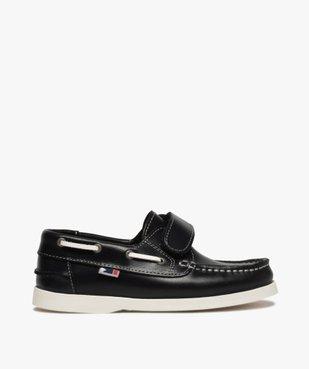 Chaussures bateau garçon dessus cuir à scratch vue1 - GEMO (ENFANT) - GEMO