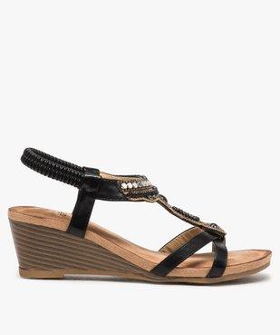 Sandales femme à talon et brides élastiques dessus perles vue1 - GEMO(URBAIN) - GEMO