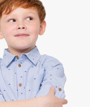 Chemise garçon à fines rayures et motifs vue1 - GEMO (ENFANT) - GEMO