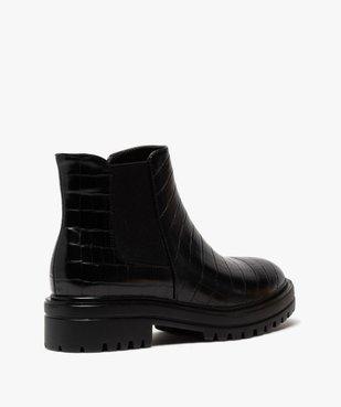 Boots femme unis à semelle crantée dessus imitation croco vue4 - GEMO (CASUAL) - GEMO