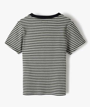 Tee-shirt fille rayé à manches courtes vue3 - GEMO C4G FILLE - GEMO