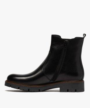 Boots fille style chelsea dessus cuir à semelle crantée vue3 - GEMO (ENFANT) - GEMO