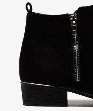 Boots fille en suédine avec talon carré et détails métallisés vue6 - GEMO (ENFANT) - GEMO