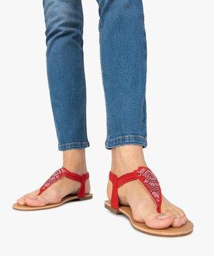 Sandales femme à entre-doigts brides élastiquées à strass vue1 - GEMO (CASUAL) - GEMO