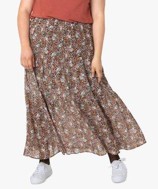 Jupe longue femme à motifs fleuris avec taille élastiquée vue1 - GEMO (G TAILLE) - GEMO