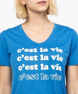 Tee-shirt femme imprimé à manches courtes et col V vue2 - FOLLOW ME - GEMO