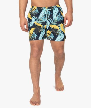 Short de bain homme motif feuillage multicolore vue1 - GEMO (PLAGE) - GEMO