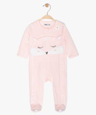 Pyjama bébé fille en velours à motif renard vue1 - GEMO C4G BEBE - GEMO