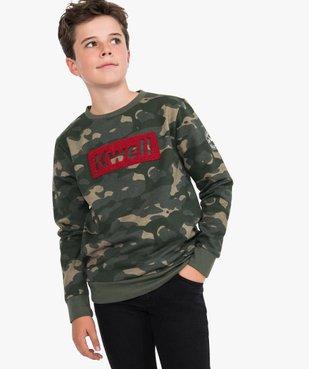 Sweat garçon à motifs camouflage avec empiècement bouclette - Kwell vue1 - KWELL - GEMO