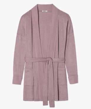 Veste d'intérieur femme en maille douce avec ceinture à nouer vue1 - GEMO(HOMWR FEM) - GEMO