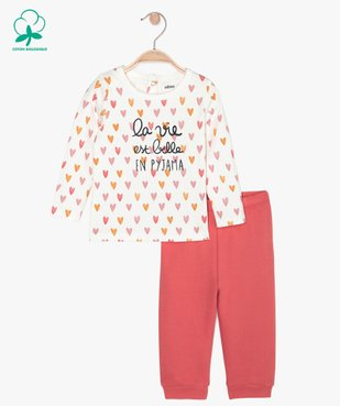 Pyjama bébé 2 pièces motif cœurs vue1 - GEMO C4G BEBE - GEMO