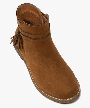 Boots fille unis en suédine avec bride à pompons vue5 - GEMO (ENFANT) - GEMO
