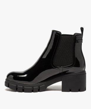Boots femme à talon carré et semelle crantée dessus verni vue3 - GEMO(URBAIN) - GEMO