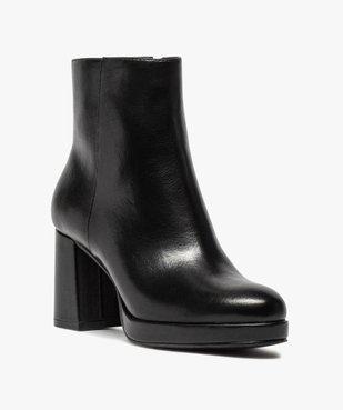 Boots femme unies à talon carré et semelle plateforme vue2 - GEMO(URBAIN) - GEMO
