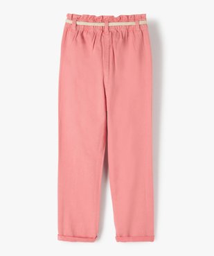 Pantalon fille ample avec taille haute et ceinture tressée vue4 - GEMO (ENFANT) - GEMO