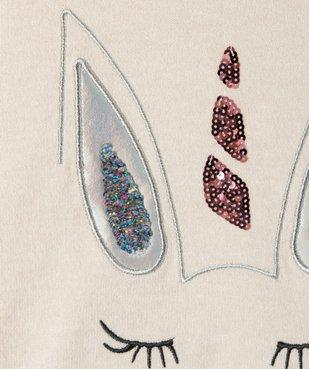 Pull fille avec motif animalier pailleté et sequins brodés vue3 - GEMO (ENFANT) - GEMO
