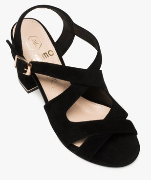 Sandales femme en suédine unie et talon carré vue5 - GEMO(URBAIN) - GEMO