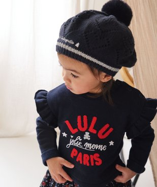 Bonnet bébé fille forme béret doublé polaire - Lulu Castagnette vue6 - LULUCASTAGNETTE - GEMO