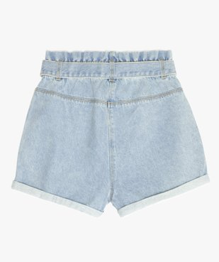 Short fille en jean taille haute avec ceinture à nouer vue3 - GEMO (JUNIOR) - GEMO