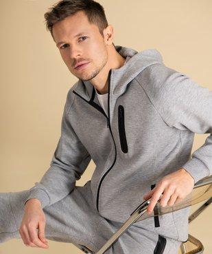 Sweat homme zippé à capuche et poches zippées vue1 - GEMO (HOMME) - GEMO