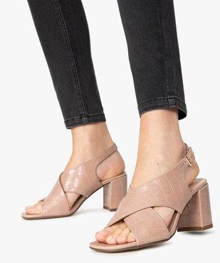 Sandales femme à talon et larges brides croisées vue1 - GEMO(URBAIN) - GEMO